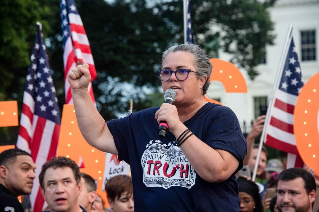 Rosie O'Donnell addresses a protest against US President Donald Trump in front of the White House in Washington, DC, on August 6, 2018.