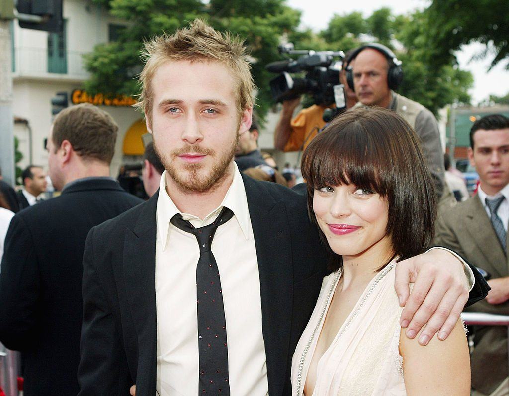 Actors Ryan Gosling (left) and Rachel McAdams arrive at the premiere of New Lines' The Notebook on June 21, 2004, in Los Angeles, California.