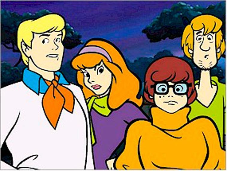 Animated Scooby-Doo gang.