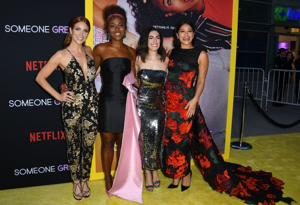 Actress Brittany Snow, DeWanda Wise, writer/director Jennifer Kaytin Robinson, and actress Gina Rodriguez arrive for the premiere of Someone Great