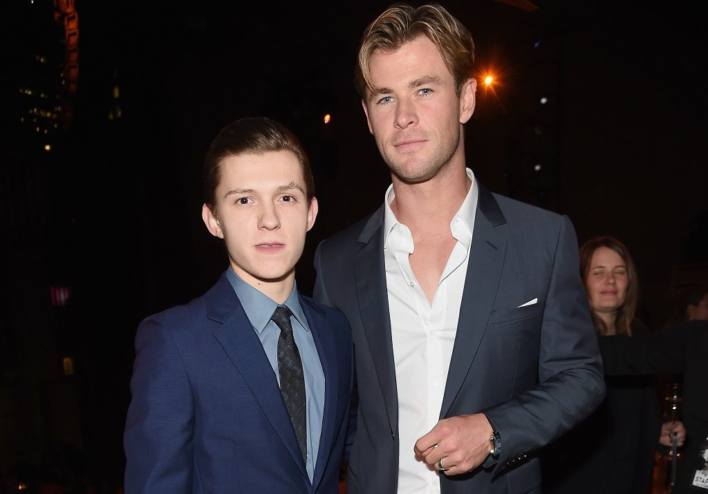 Tom Holland and Chris Hemsworth attend In The Heart Of The Sea New York Premiere after party at Appel Room on December 7, 2015, in New York City.