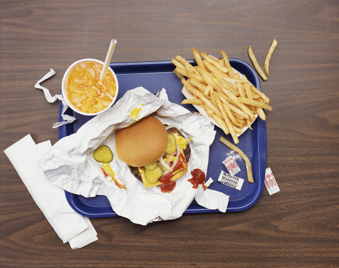 Fast food burger and fries with a drink