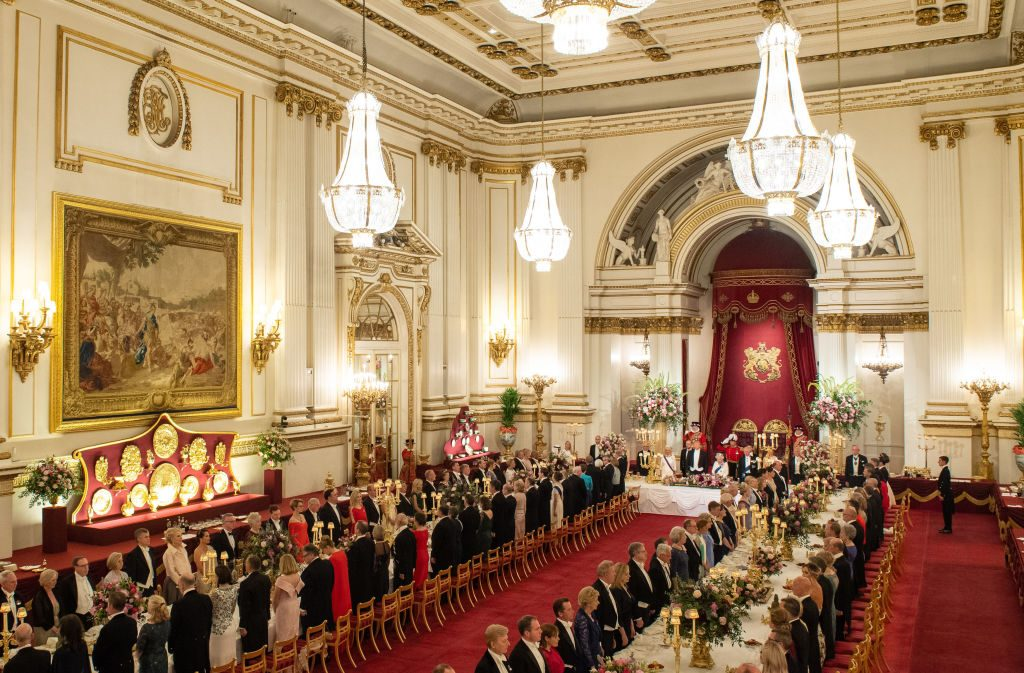 Rose Hanbury seated away from Prince William and Kate Middleton at State Banquet in the ballroom at Buckingham Palace