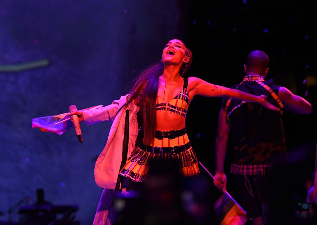 Ariana Grande performs for fans