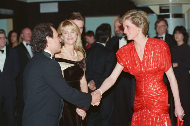 Princess Diana, attends the Premiere of 'When Harry Met Sally' and talks to actors Meg Ryan and actor Billy Crystal who star in the film.