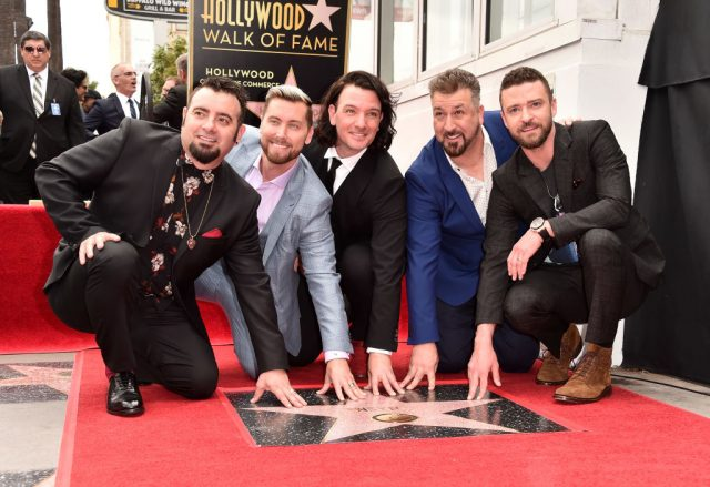 Chris Kirkpatrick, Lance Bass, JC Chasez, Joey Fatone and Justin Timberlake of NSYNC are honored with a star on the Hollywood Walk of Fame on April 30, 2018