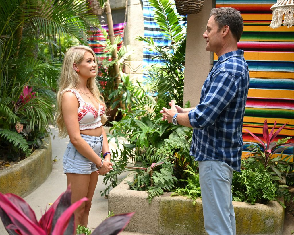 Demi Burnett & Chris Harrison stars of Bachelor In Paradise alongside Caelynn Miller-Keyes