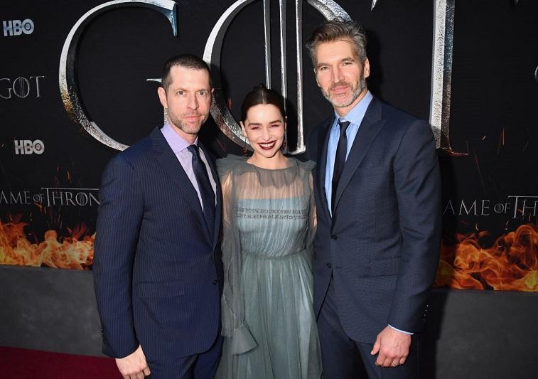 D.B Weiss, David Benioff, and Emilia Clarke