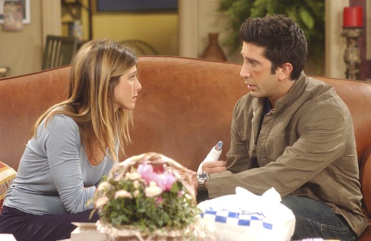 Jennifer Aniston as Rachel Green, David Schwimmer as Dr. Ross Geller