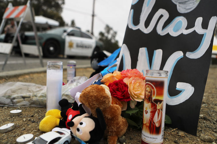 A memorial sits outside of the site Gilroy Garlic Festival shooting