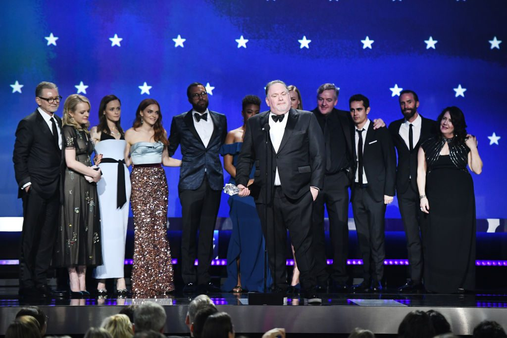 Bruce Miller with 'The Handmaid's Tale' cast on stage
