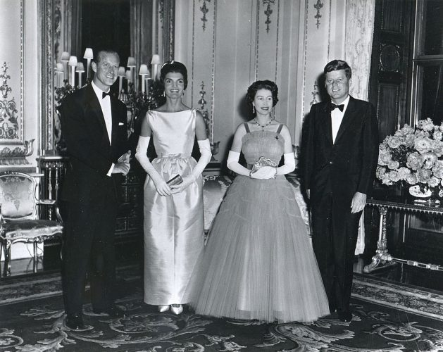 American President John F. Kennedy (1917 - 1963) (right) and his wife, First Lady Jacqueline Kennedy (1929 - 1994) (second left), pose with Queen Elizabeth II of Great Britain (second right) and her husband, Prince Philip, Duke of Edinburgh,