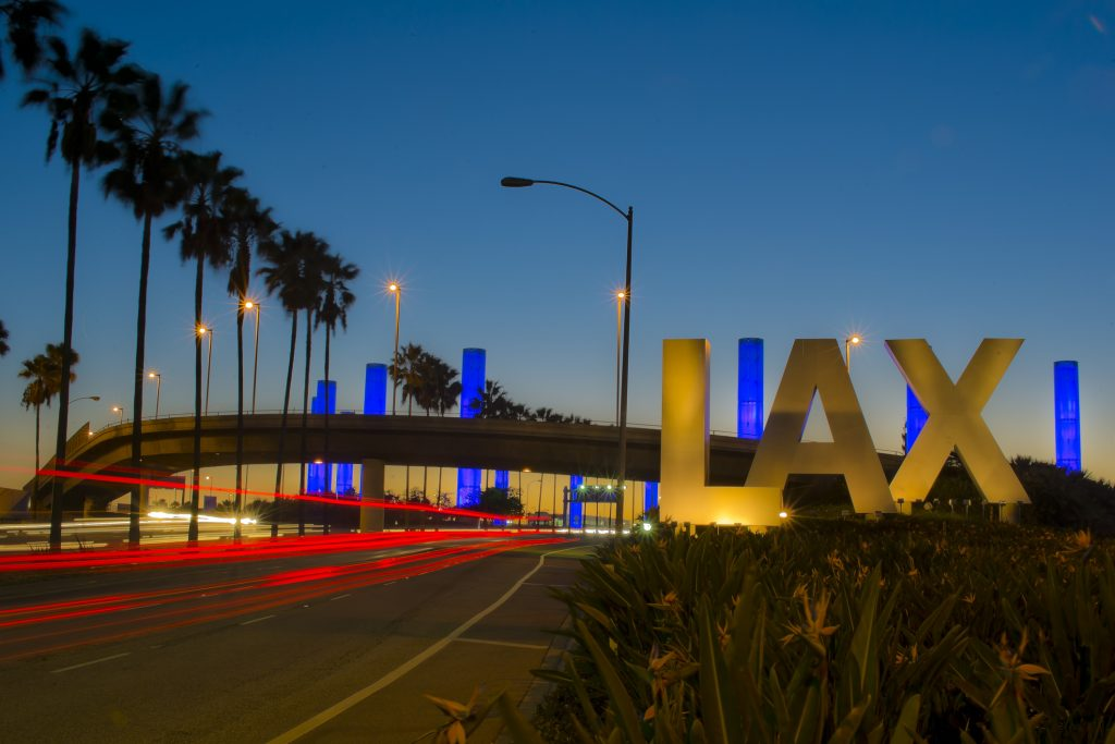 The iconic LAX sign at Los Angeles International Airport