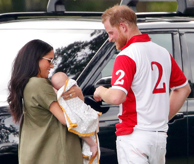 Meghan Markle and Prince Harry, the Duke and Duchess of Susbad, along with their son, Archie Harrison Mountbatten-Windsor, at the polo match.