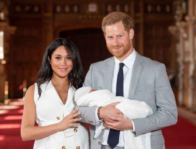 Prince Harry and Meghan Markle with baby Archie at St. George's Chapel photocall.