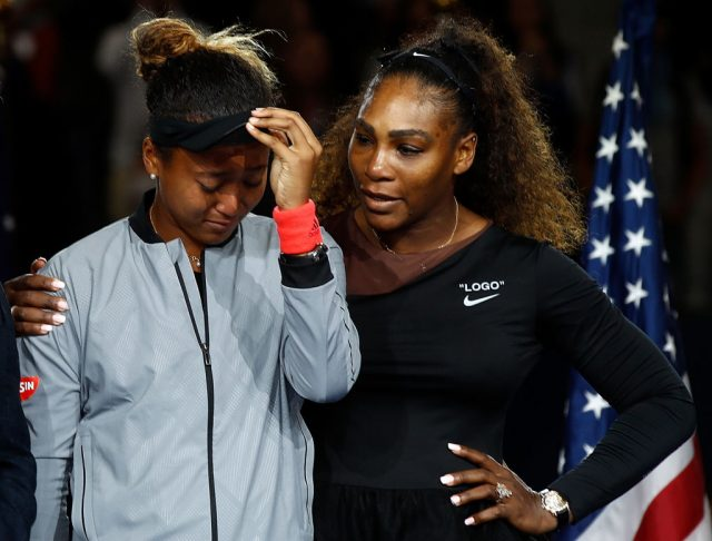 Naomi Osaka and Serena Williams at the U.S. Open in 2018