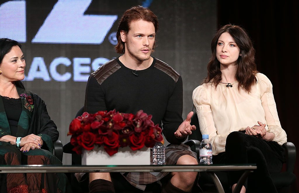 Author Diana Gabaldon and actors Sam Heughan and Caitriona Balfe   Frederick M. Brown/Getty Images