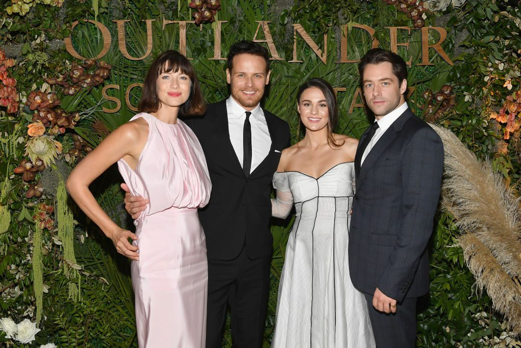 """(L-R) Caitriona Balfe, Sam Heughan, Sophie Skelton and Richard Rankin attend the 21st SCAD Savannah Film Festival """"Outlander"""" Season Four reception 