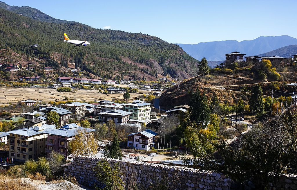 An airplane arrives at Paro Airport.