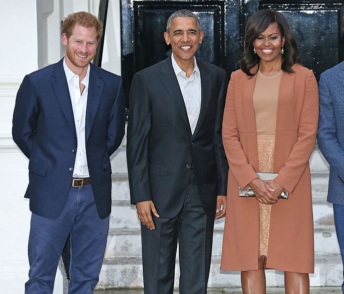 Prince Harry, Barack Obama, and Michelle Obama