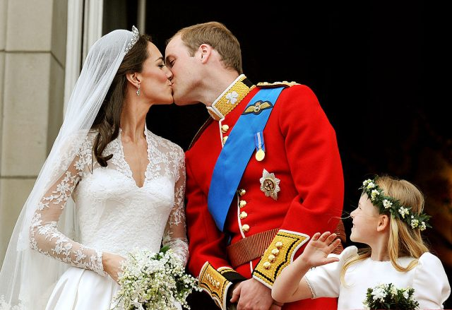 Kate Middleton and Prince William kiss after their wedding