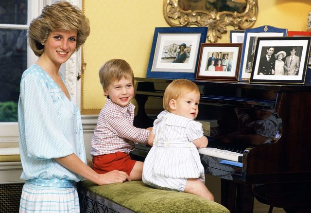 Princess Diana, Prince William, and Prince Harry in 1985.