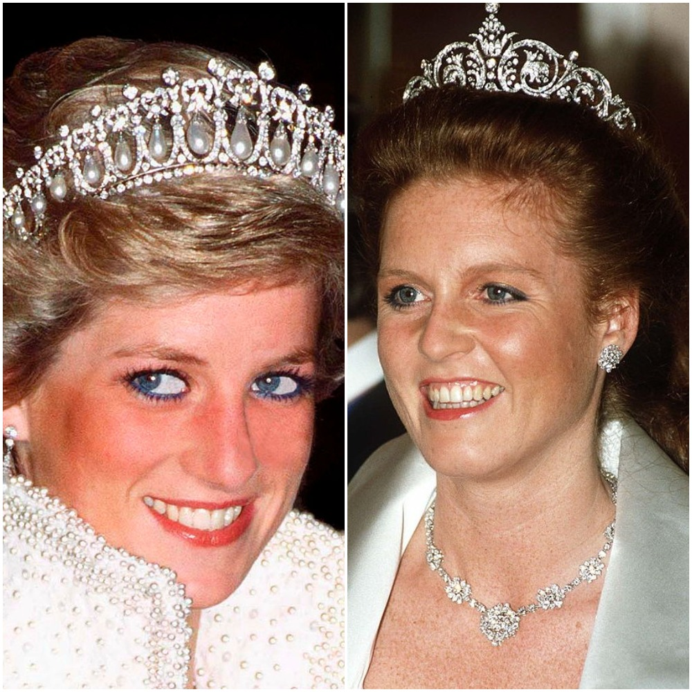 Princess Diana and Sarah Ferguson in tiaras