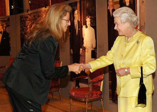 HRH Queen Elizabeth ll greets photographer Annie Leibovitz at a reception for American based in England at Buckingham Palace on March 27, 2007.