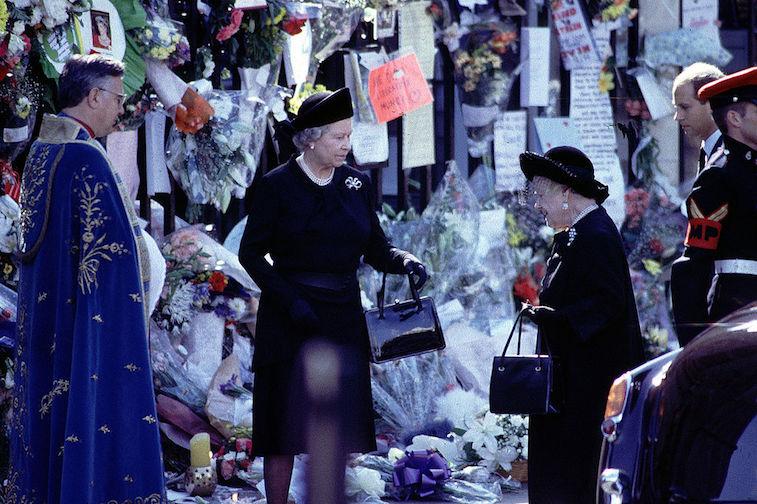 Queen Elizabeth at Princess Diana's funeral