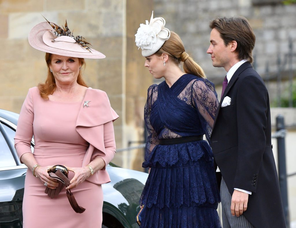 Sarah Ferguson, Duchess of York, Princess Beatrice, and Edoardo Mapelli Mozzi