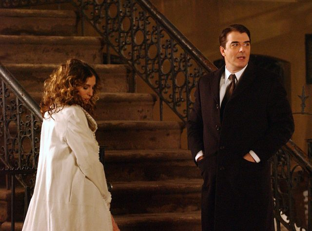 """Sarah Jessica Parker and Chris Noth during """"Sex and the City"""" film their last scene at West 4th Street and Perry Street, Greenwich Village in New York City, New York."""