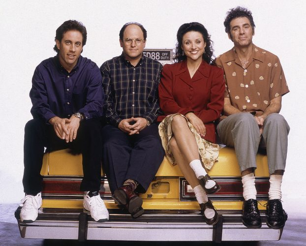 Pictured: (l-r) Jerry Seinfeld as Jerry Seinfeld, Jason Alexander as George Costanza, Julia Louis-Dreyfus as Elaine Benes, Michael Richards as Cosmo Kramer