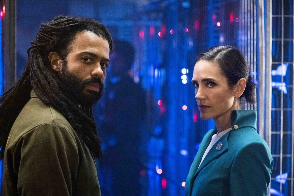 Daveed Diggss and Jennifer Connelly in Snowpiercer