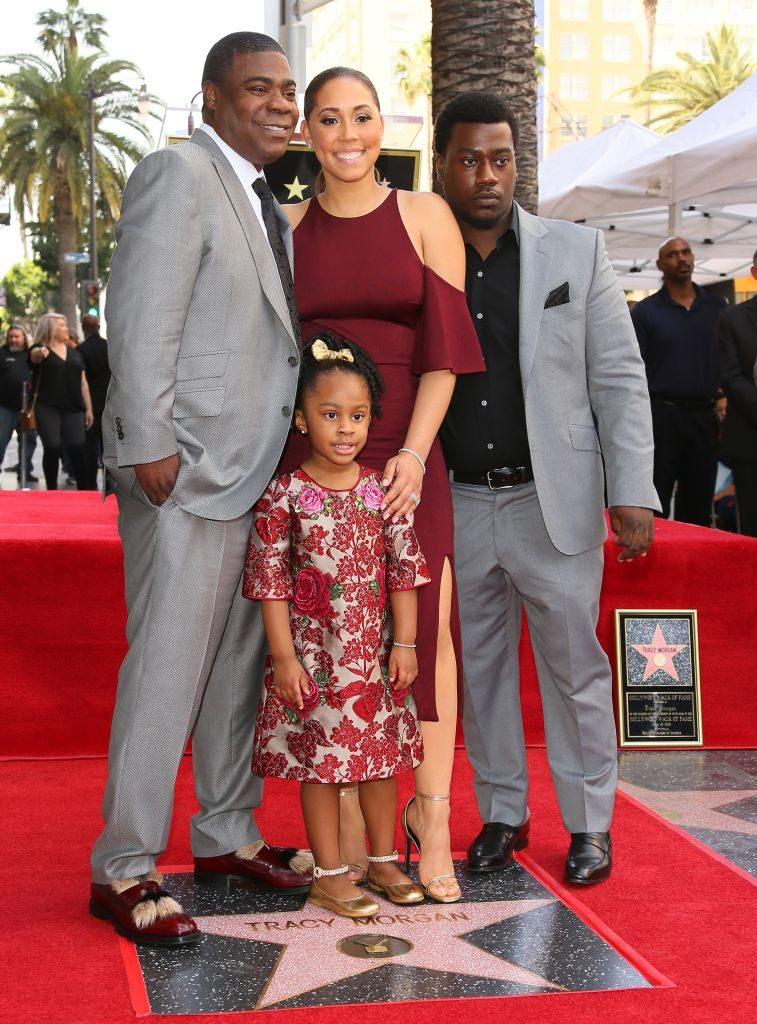Tracy Morgan with daughter Maven Morgan, wife Megan Wollover, and son Tracy Morgan Jr.