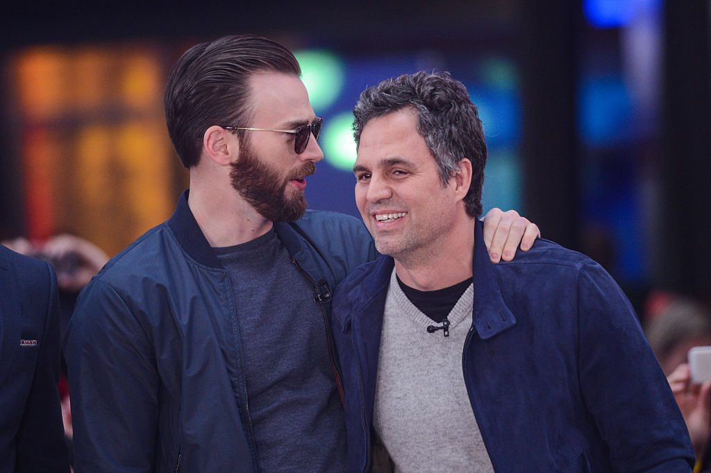 Chris Evans and Mark Ruffalo on April 24, 2015, in New York City.