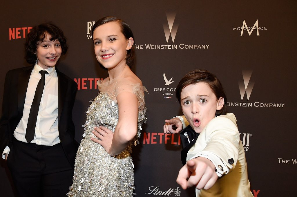 (L-R) Finn Wolfhard, Millie Bobby Brown, and Noah Schnapp