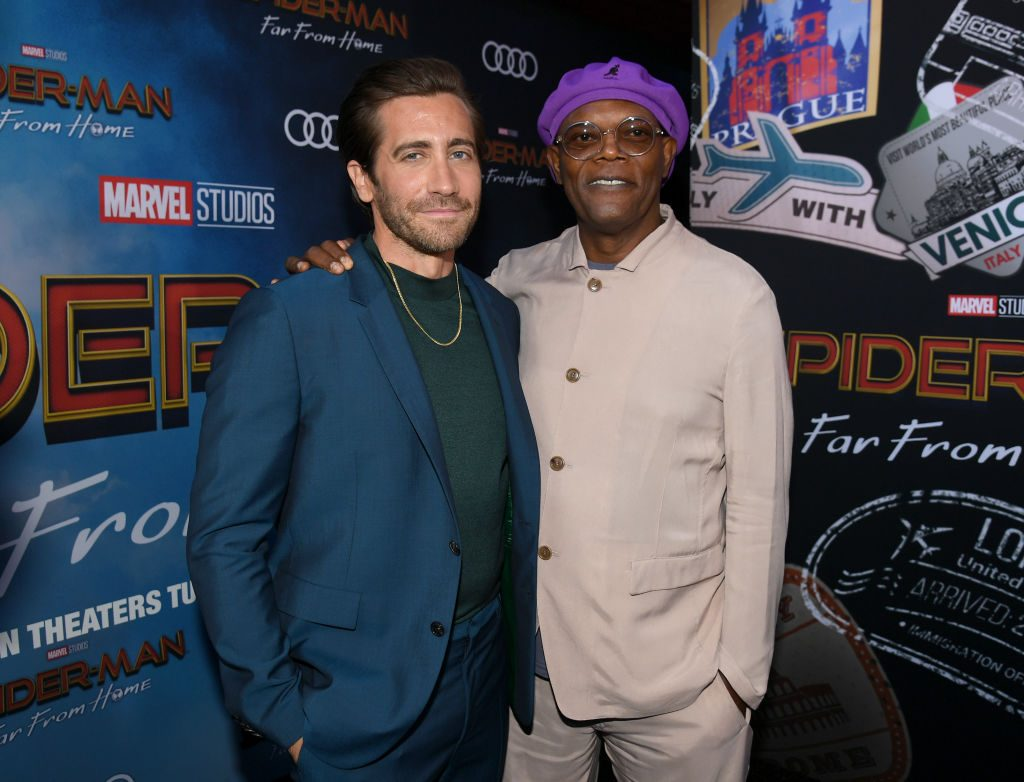 Jake Gyllenhaal and Samuel L. Jackson attend the premiere of Sony Pictures' Spider-Man: Far From Home on June 26, 2019, in Hollywood, California.