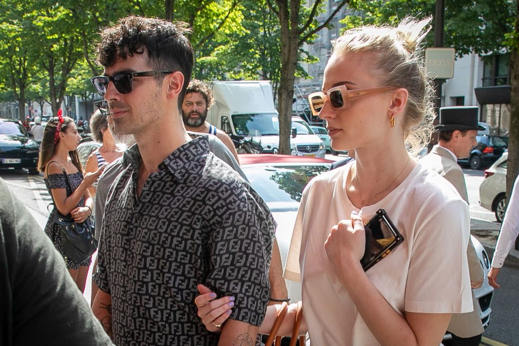 Joe Jonas and Sophie Turner can be seen on June 24, 2019 in Paris, France.