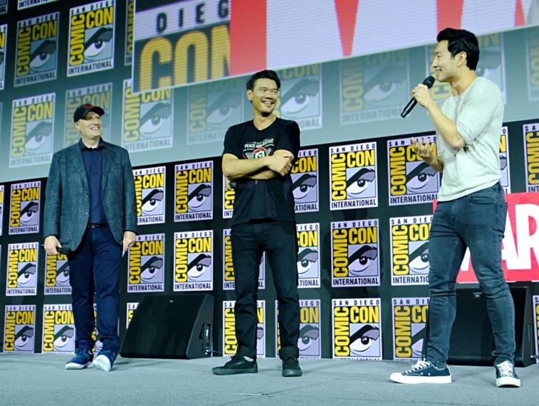 Kevin Feige, Destin Daniel Cretton, and Simu Liu at Comic-Con