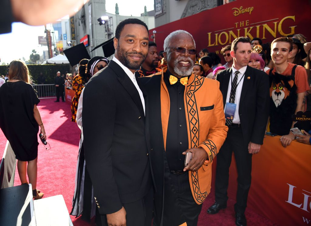 (L-R) Chiwetel Ejiofor and John Kani attend the premiere of Disney's The Lion King at Dolby Theatre on July 09, 2019 in Hollywood, California.