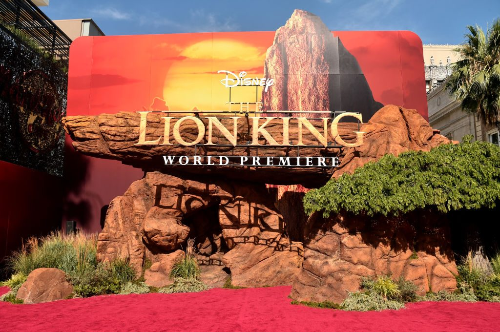 Signage is seen during the World Premiere of Disney's THE LION KING at the Dolby Theatre on July 09, 2019 in Hollywood, California.