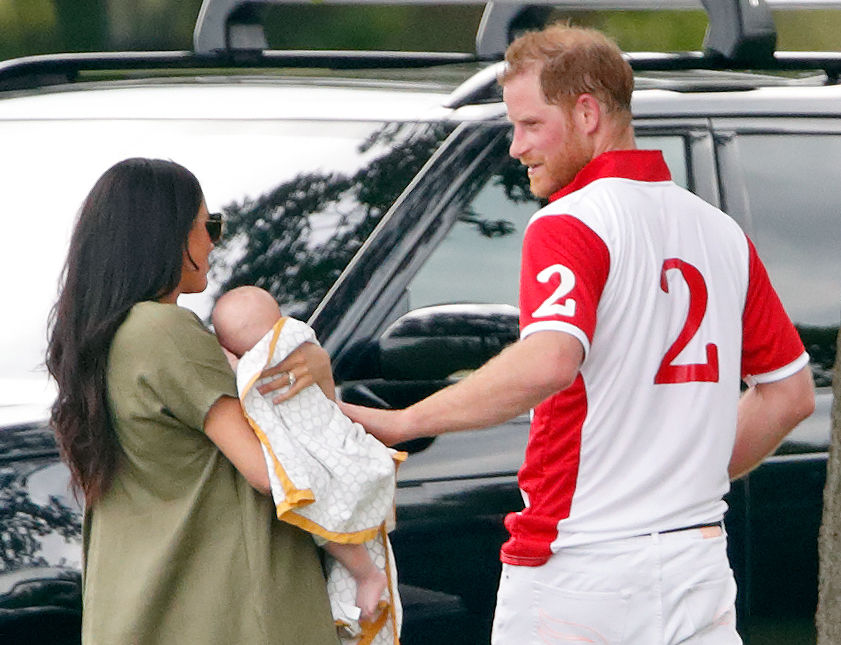 Prince Harry and Meghan Markle attend the King Power Royal Charity Polo Match with baby Archie.