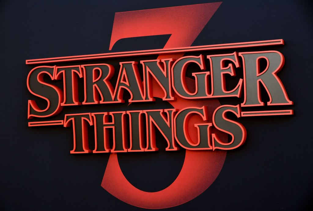 Signage is seen during the premiere of Netflix's Stranger Things Season 3 on June 28, 2019 in Santa Monica, California
