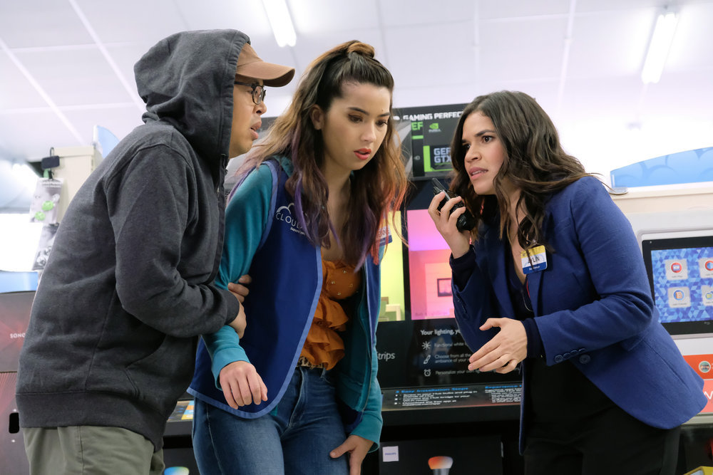 """Superstore -- """"Employee Appreciation Day"""" Episode 422 -- Pictured: (l-r) Nico Santos as Mateo, Nichole Bloom as Cheyenne, America Ferrera as Amy"""
