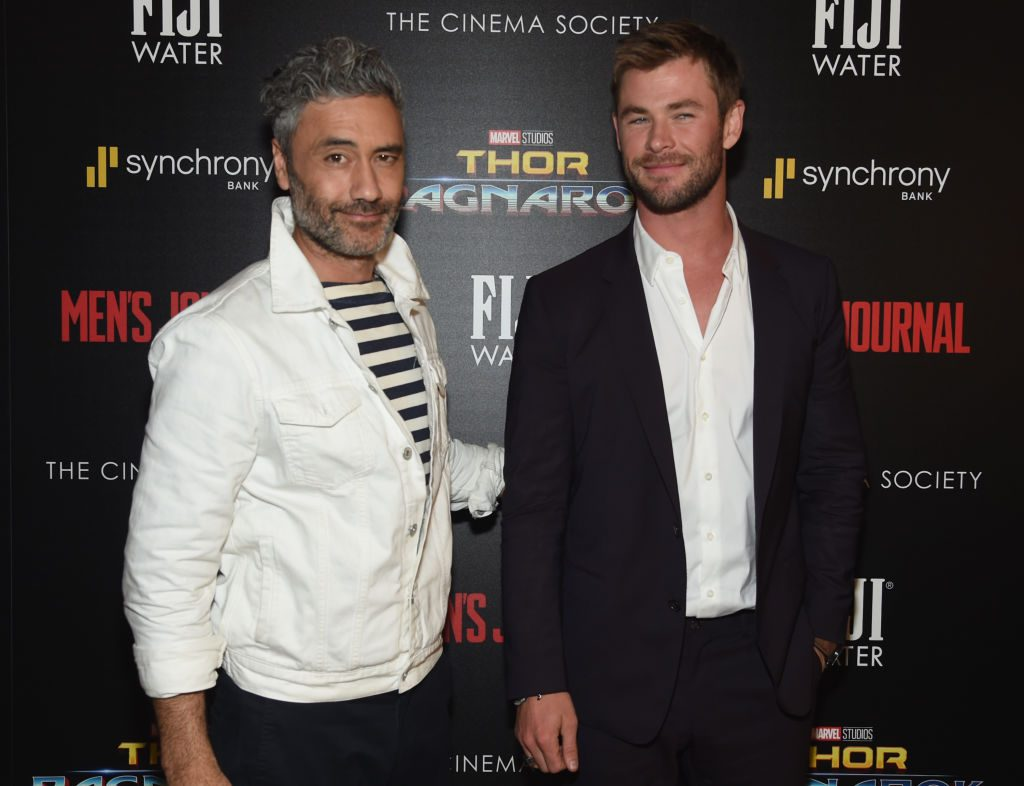 Director Taika Waititi and Chris Hemsworth attend The Cinema Society's Screening Of Marvel Studios' Thor: Ragnarok on October 30, 2017. |