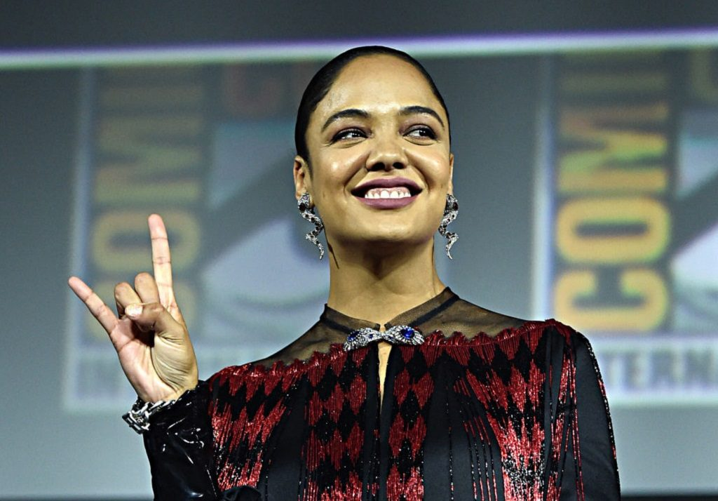 Tessa Thompson of Thor: Love and Thunder at the San Diego Comic-Con International 2019 Marvel Studios Panel on July 20, 2019.