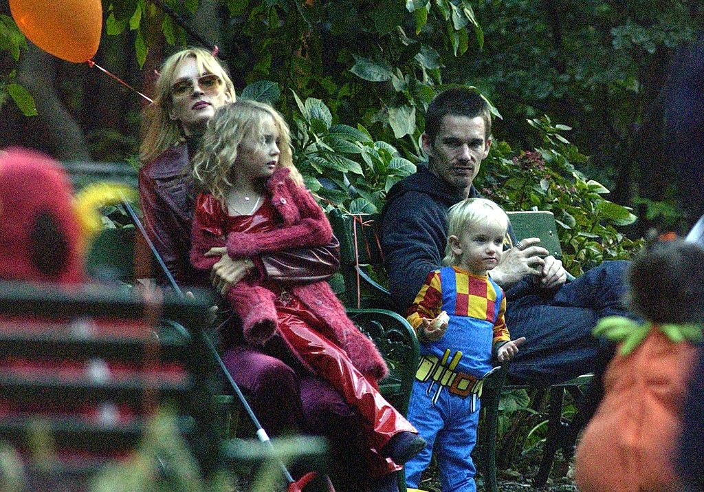 Actor Ethan Hawk visits actress Uma Thurman and his kids for Halloween October 31, 2003, in New York City.
