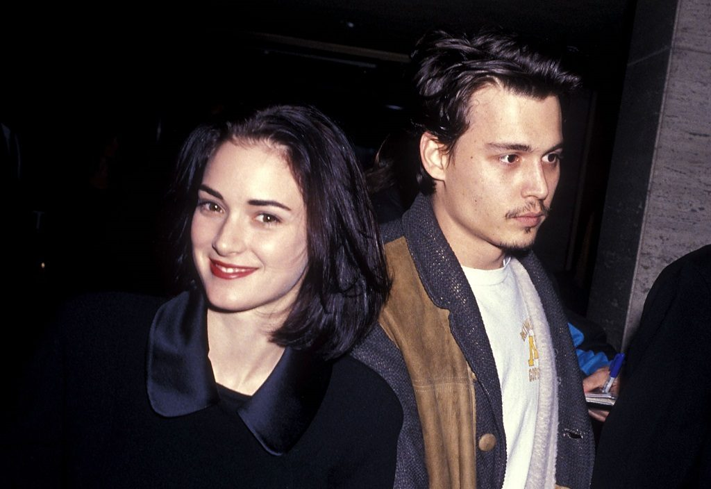 Actress Winona Ryder and actor Johnny Depp attend The Silence of the Lambs Century City Premiere on February 1, 1991.