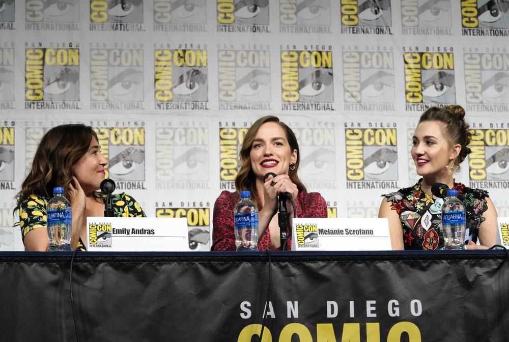 "Comic-Con International: San Diego -- ""Wynonna Earp Panel"" -- Pictured: (l-r) Kayti Burt, Emily Andras, Melanie Scrofano, Katherine Barrell"
