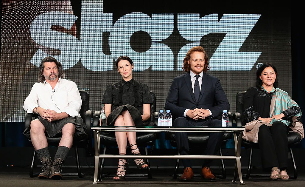 Executive Producer Ronald D. Moore, actors Caitriona Balfe and Sam Heughan and author Diana Gabaldon | Frederick M. Brown/Getty Images